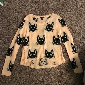 Distressed cat sweater